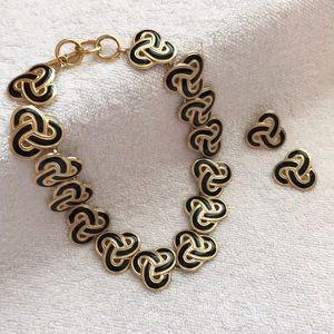 Black/Gold Swirl Statement Necklace & Earrings